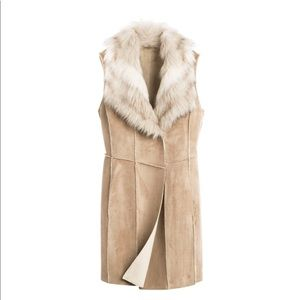 Chico's faux-suede fur collar vest